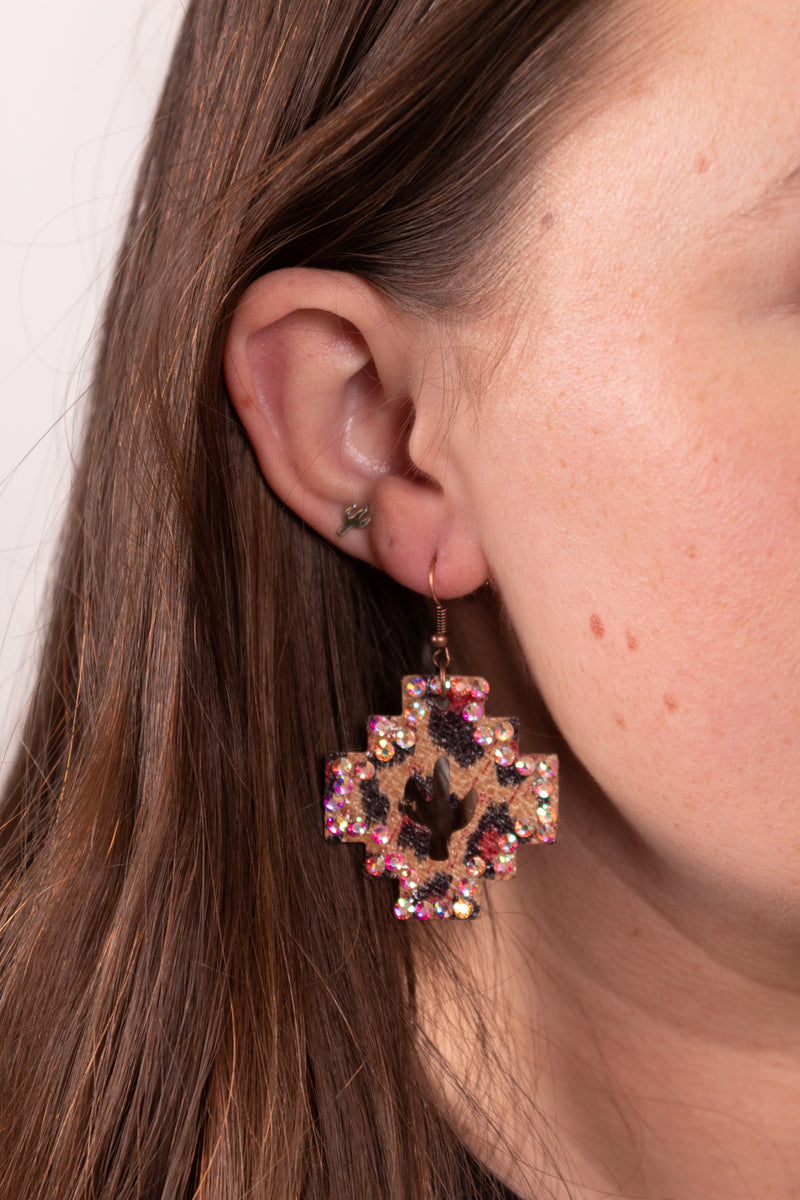 Aztec Leopard Dangle Earrings