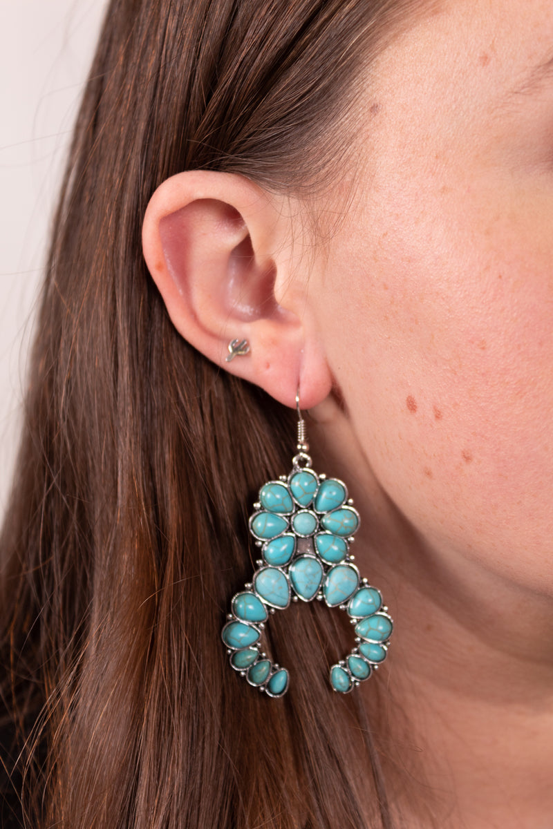 Turquoise Flower Naja Dangle Earrings