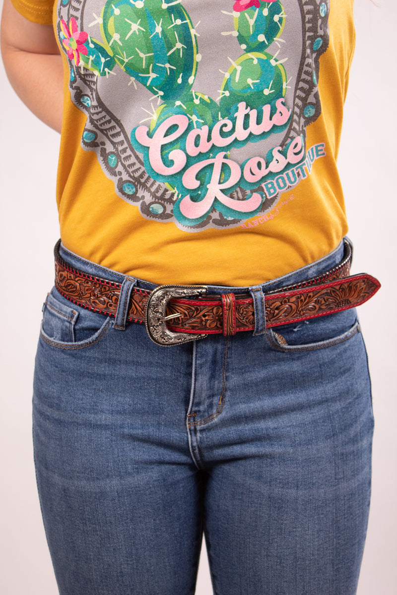 Red Buckstitch Hand Tooled Belt