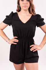 Midnight Black Ruffle Romper