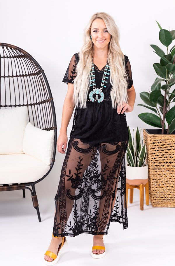 Midnight Lace Slit Romper
