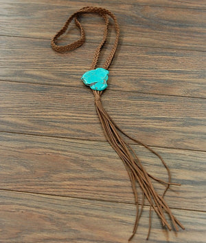 Braided Suede Turquoise Slab Necklace