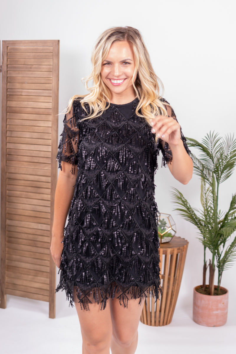 Wild Card Fringe Mini Dress