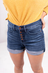 Double Up Button Up Judy Blue Denim Shorts