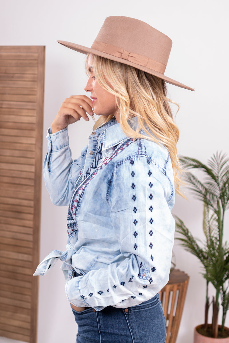 Emmy Embroidered Denim Pearl Snap Top