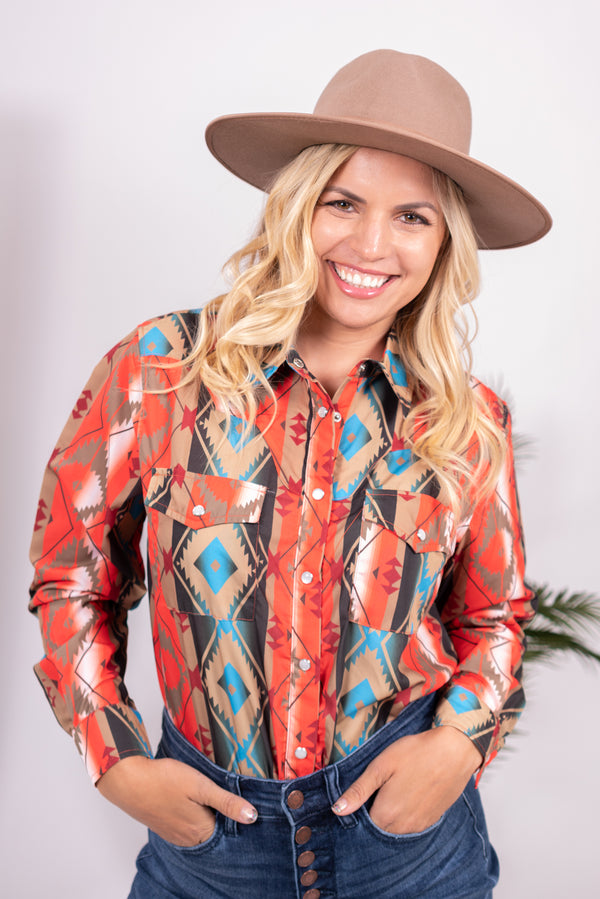 Aztec Rodeo Time Pearl Snap Top