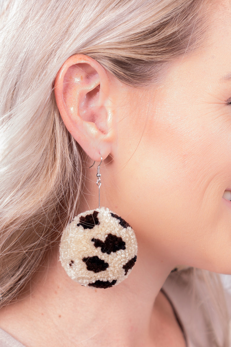 Pom Leopard Dangle Earrings
