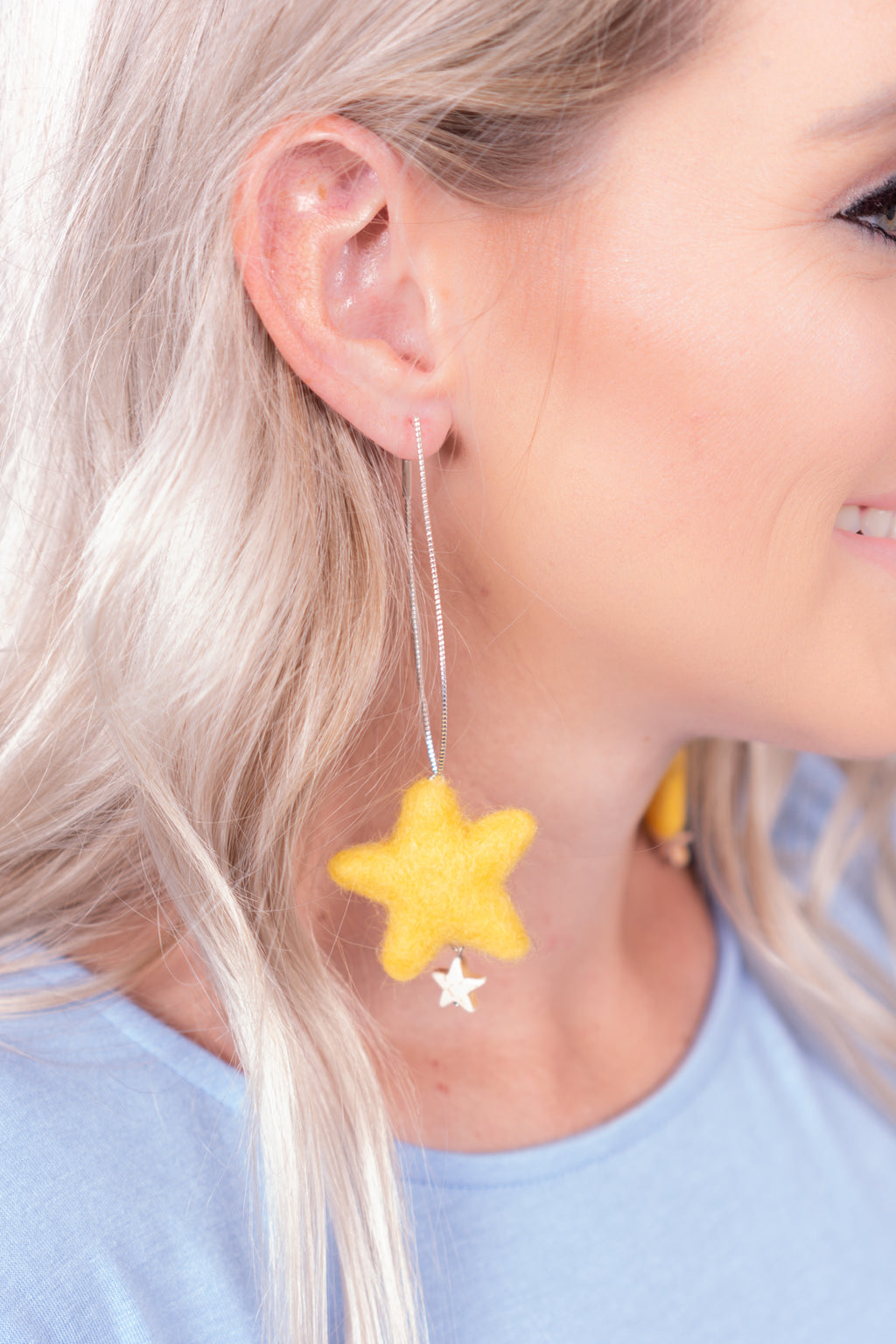 Puffy Star Dangle Earrings