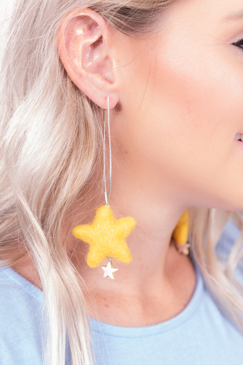 Yellow Star Felt Dangle Earrings