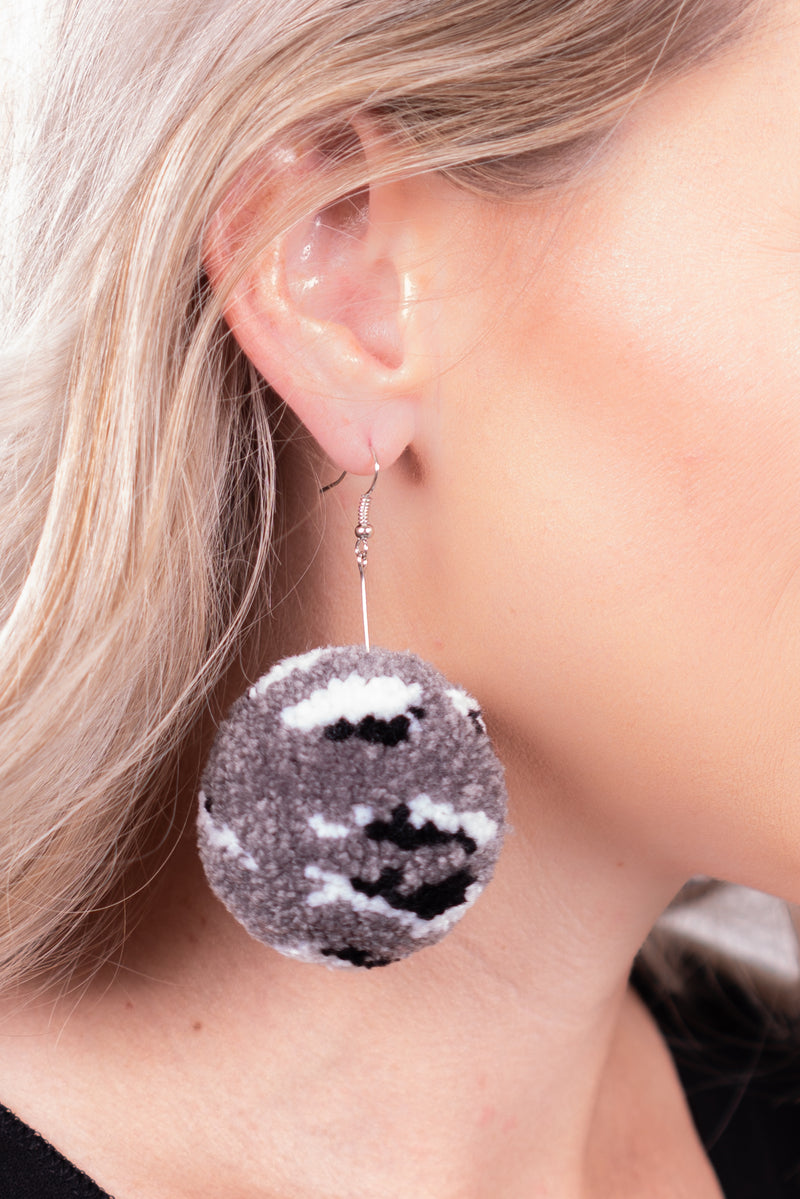 Grey Leopard Dangle Pom Earrings