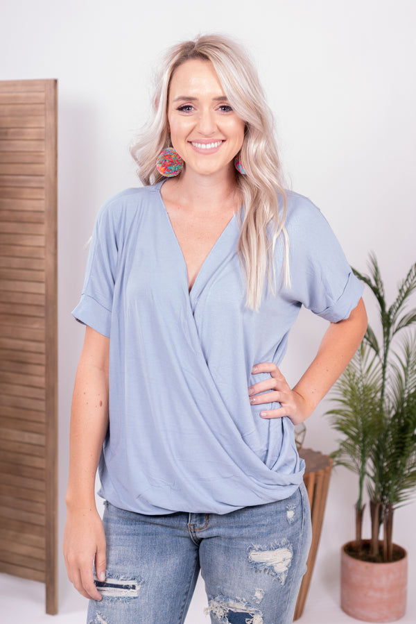 Baby Blue wrap top