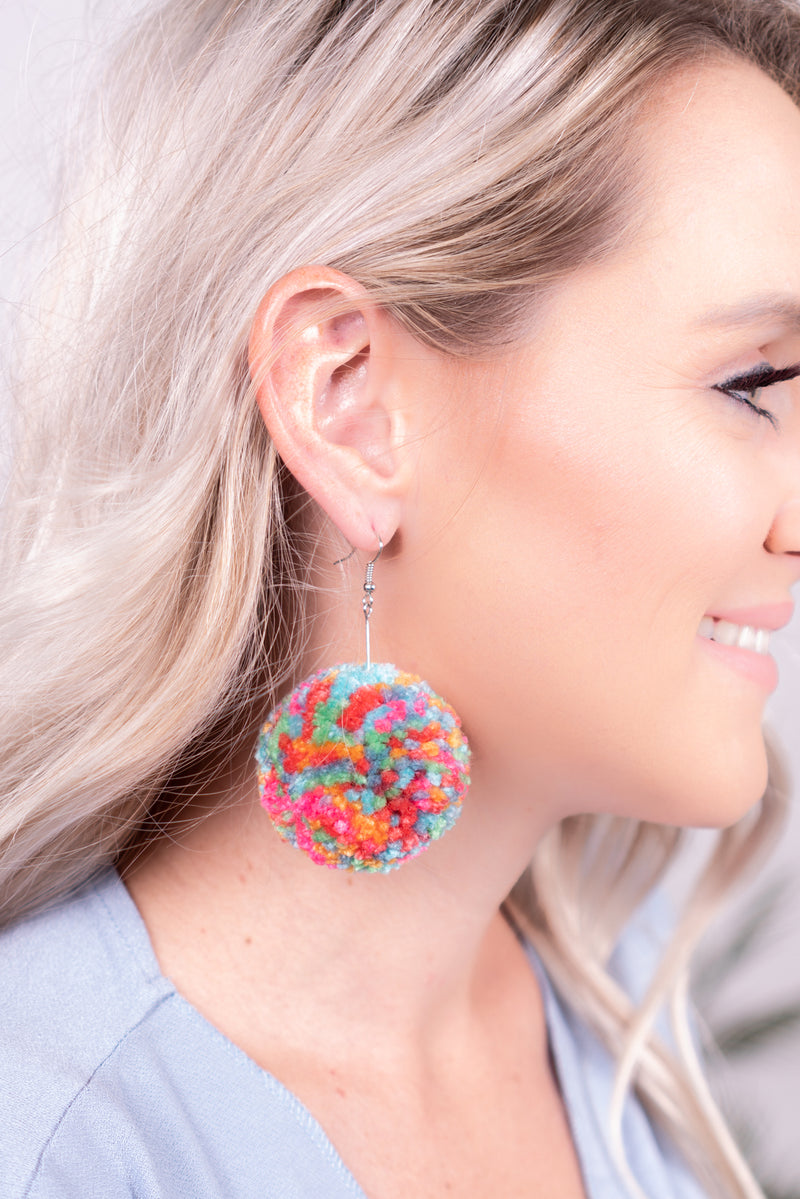 Multicolor Pom Dangle Earrings