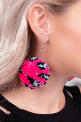 Hot Pink & Turquoise Pom Dangle Earrings