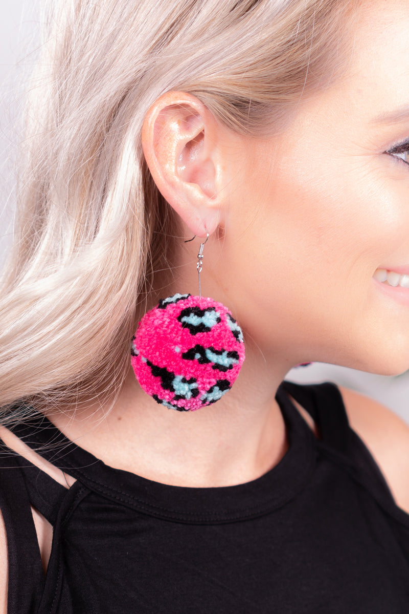 Neon Leopard Pom Dangle Earrings