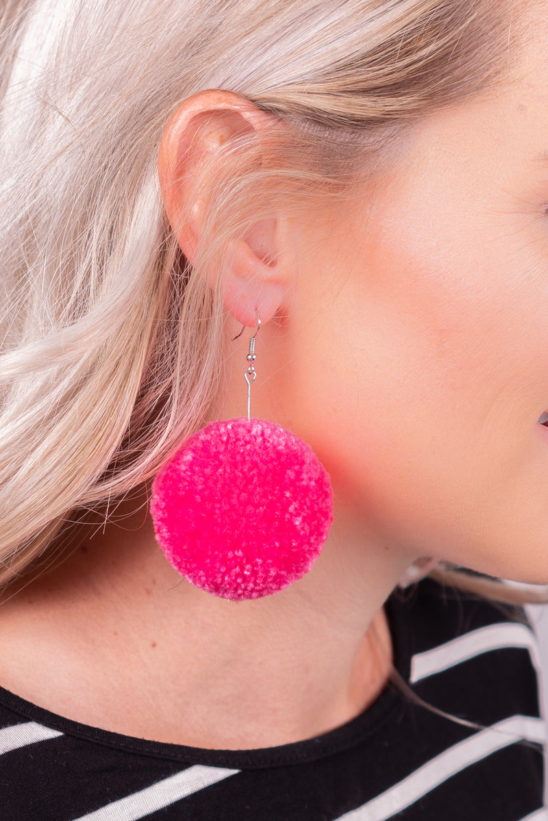 Hot Pink Pom Dangle Earrings