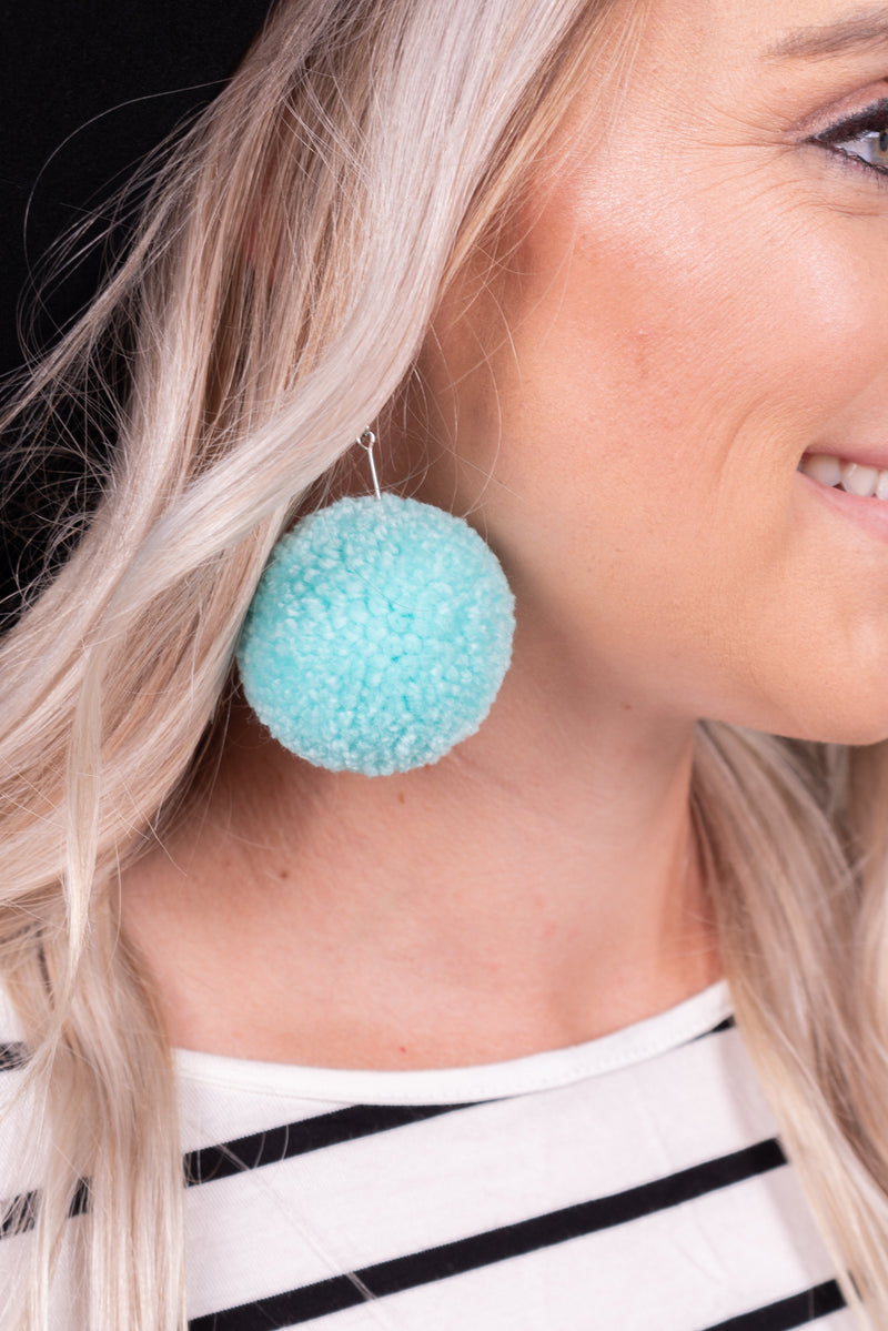 Electric Blue Pom Dangle Earrings