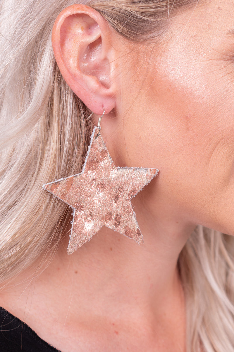 Rose Gold Metallic Star Hide Earrings