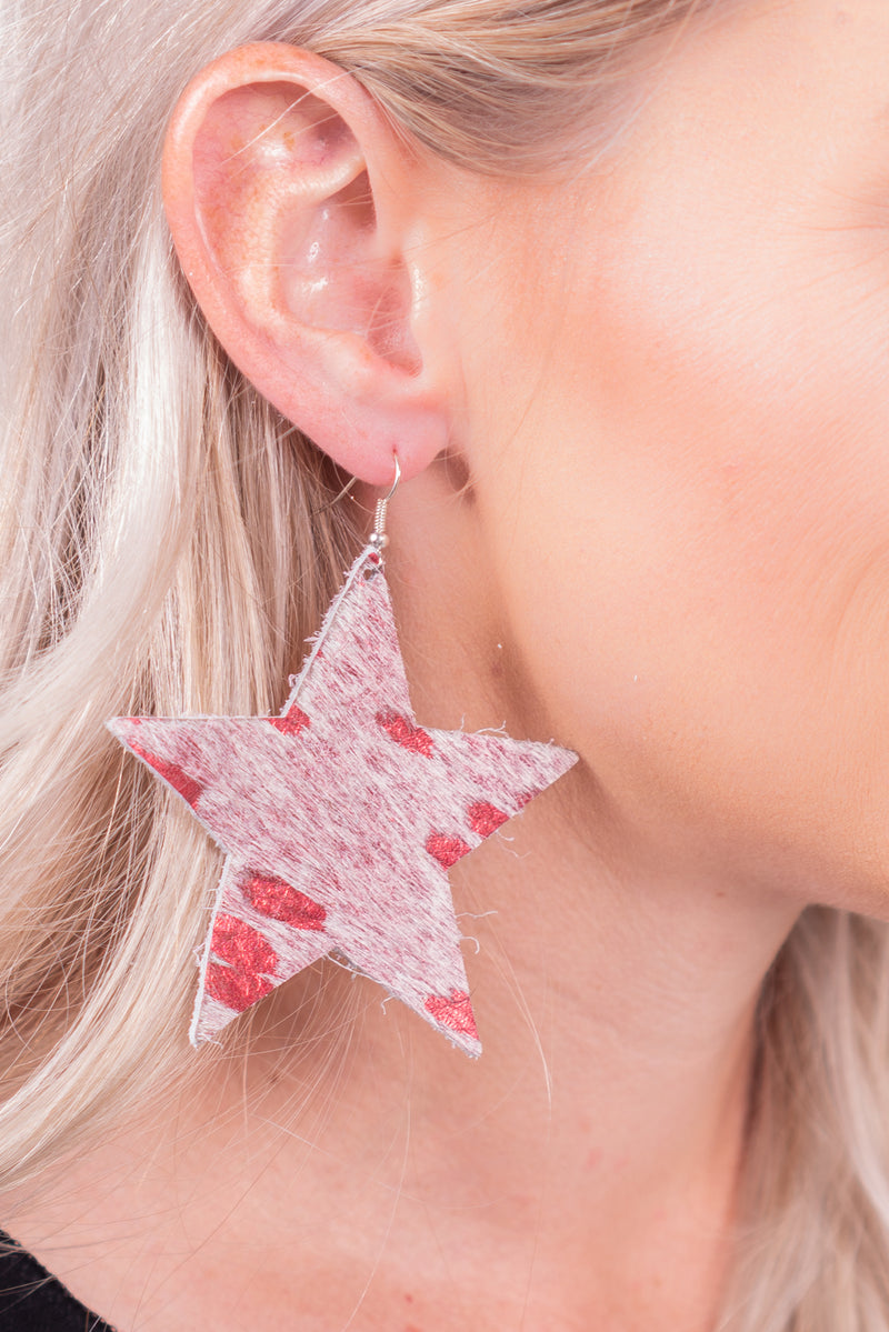 Red Metallic Star Hide Earrings
