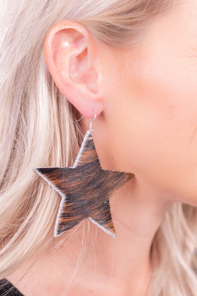 Dark Brindle Star Hide Earrings