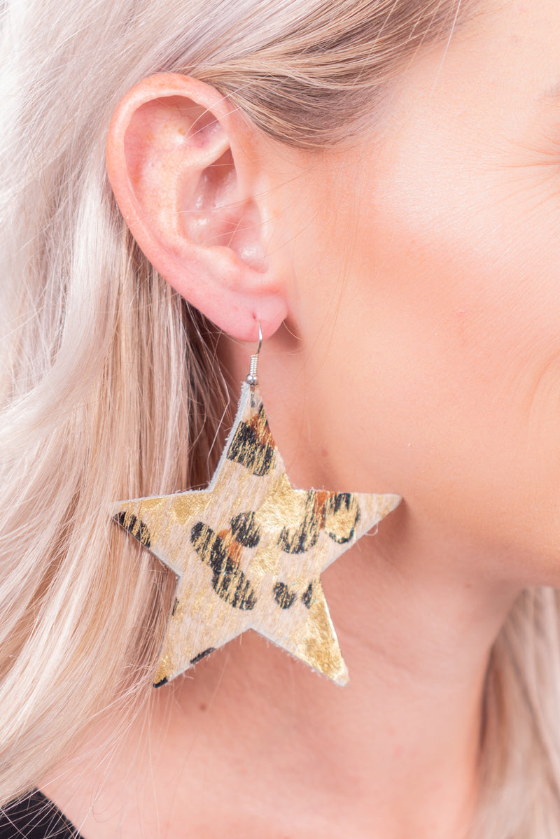 Leopard And Gold Star Hide Earrings