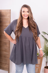 Ash Grey Tunic Top