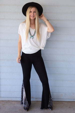 Black and Python Insert Bell Bottoms