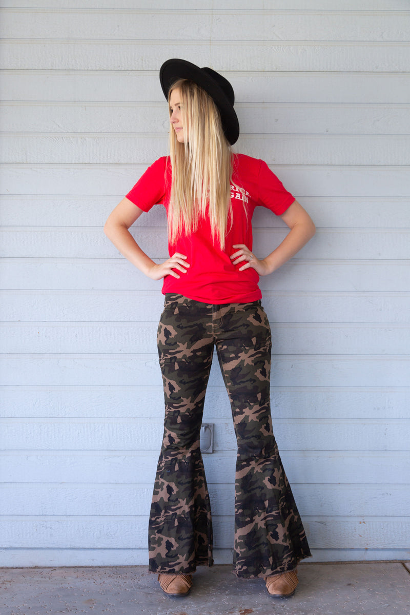 Camo Denim Stretch Bell Bottoms