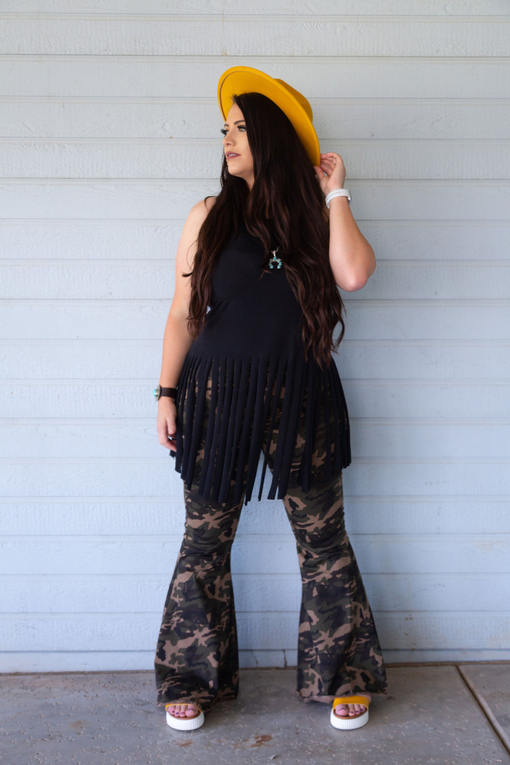 Plus Size Camo Denim Stretch Bell Bottoms