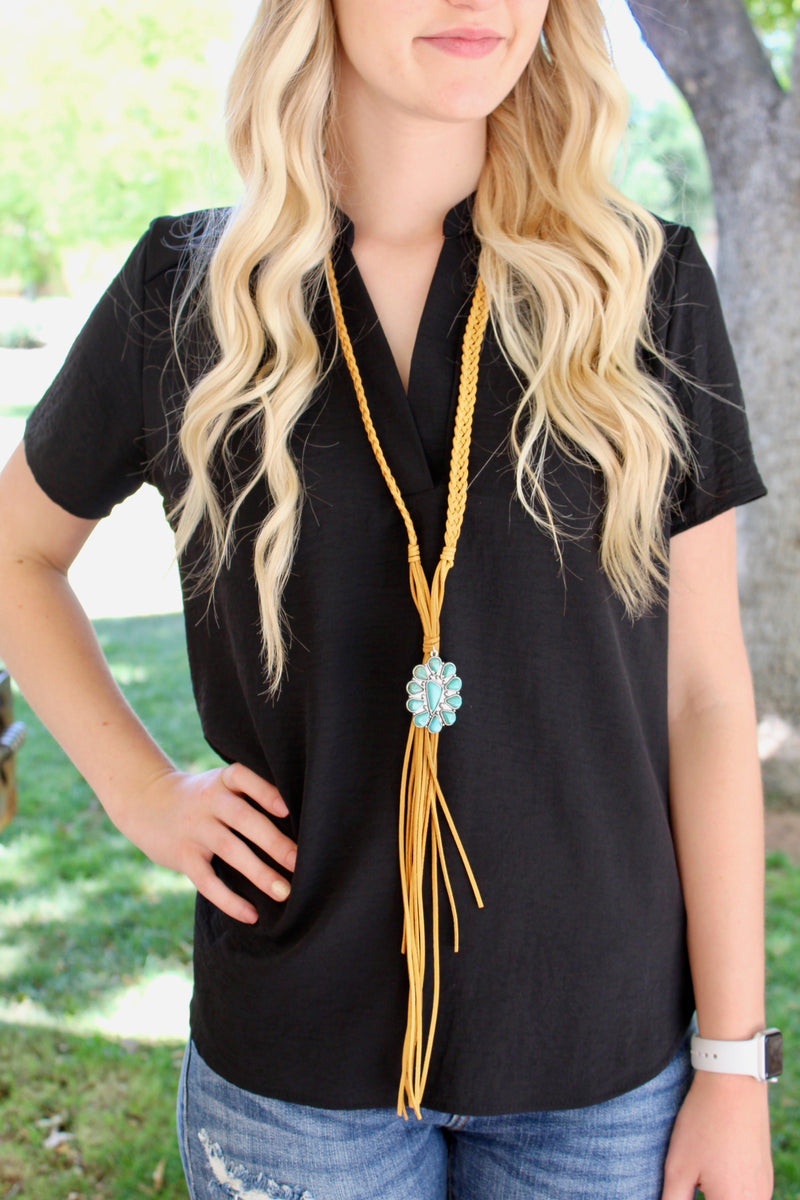 Braided Suede Turquoise Pendant Necklace