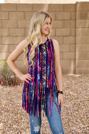 All Fringed Out Tank Top in Aztec
