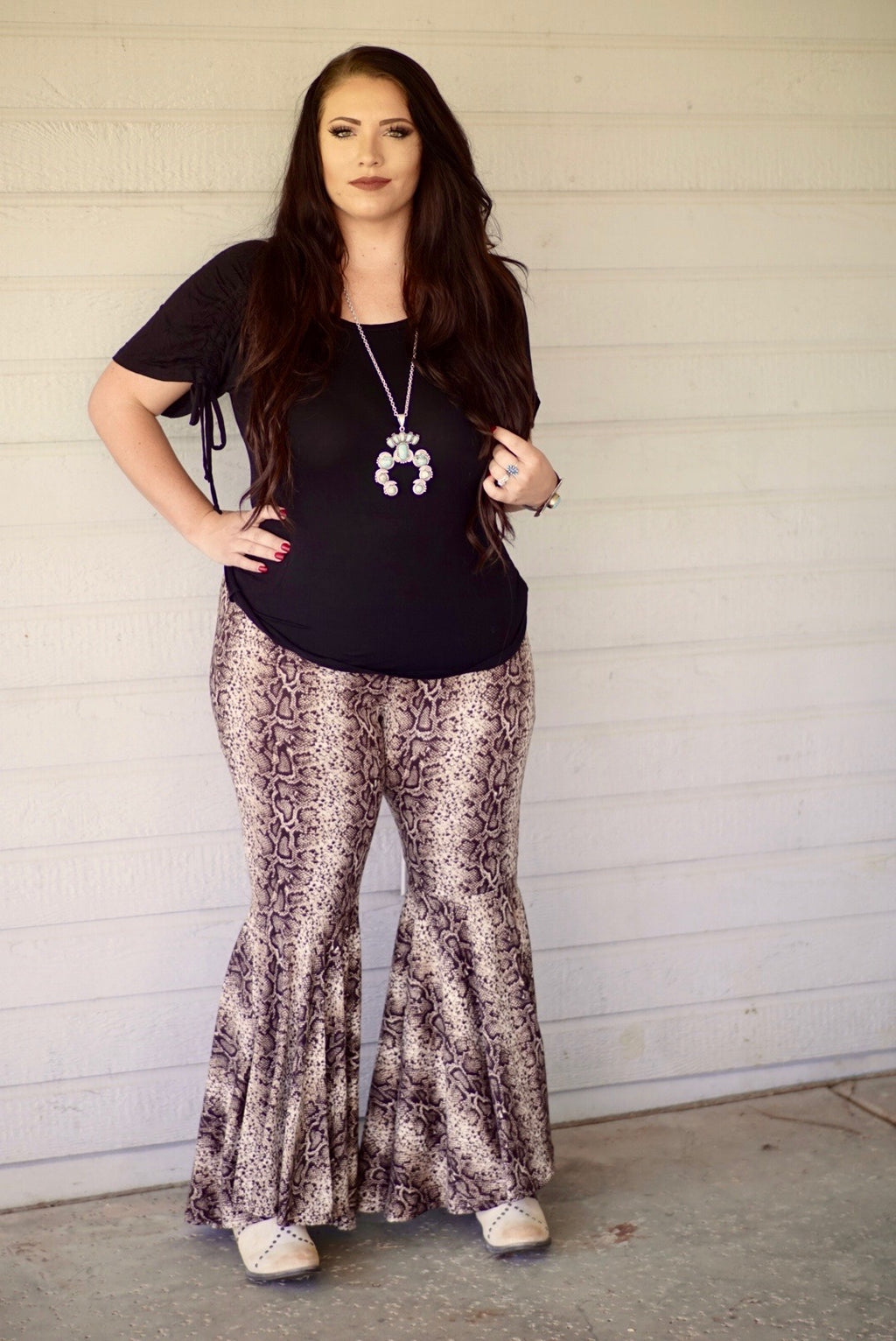 Plus Size Snakeskin Bell Bottoms