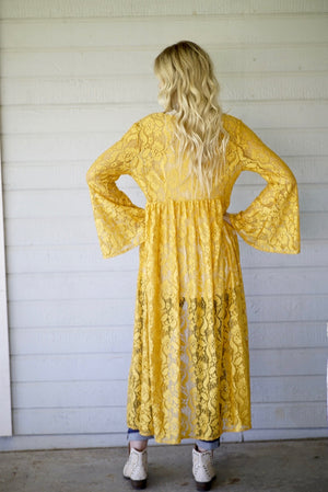 Mustard Lace Bell Duster