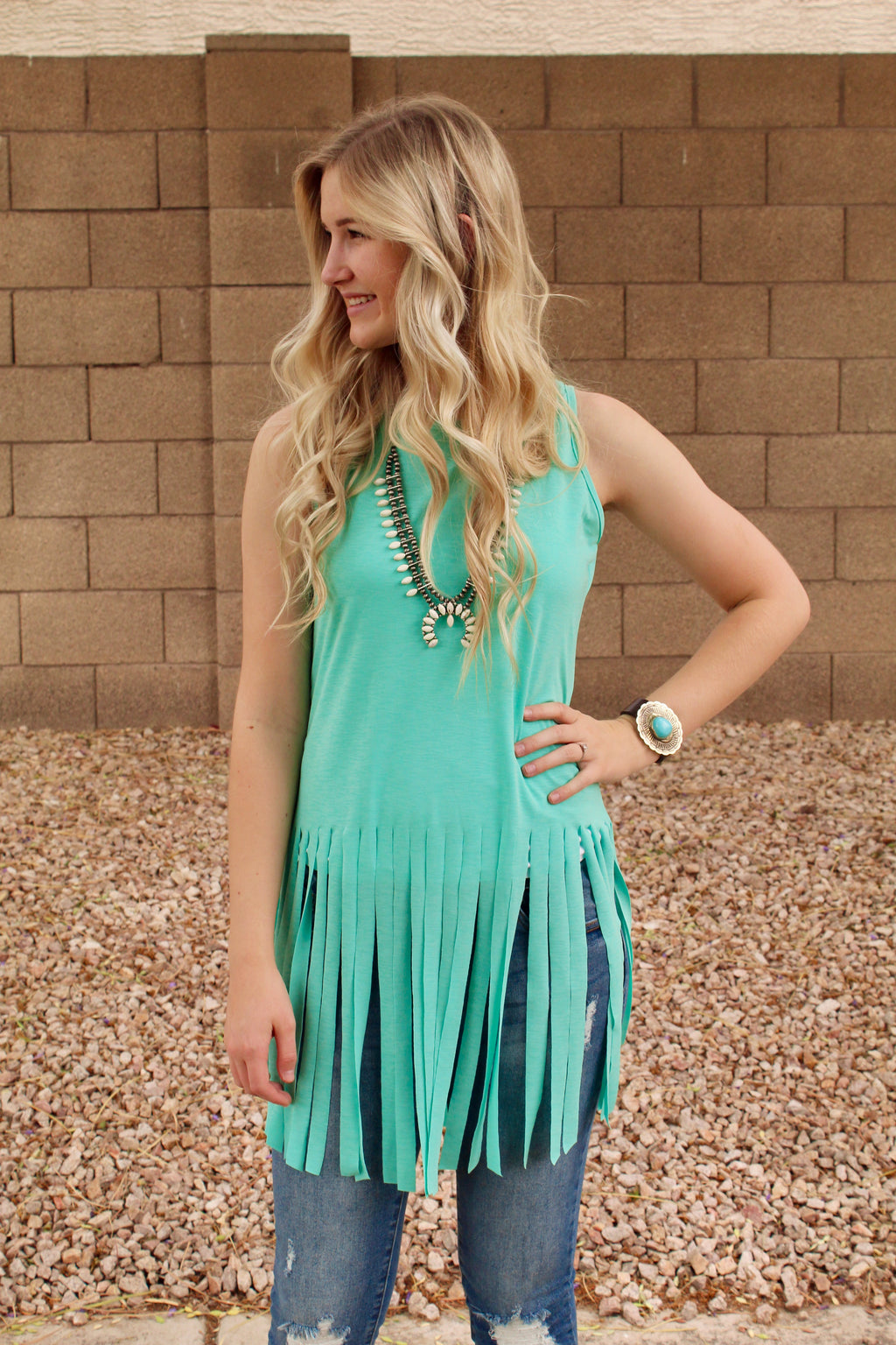 All Fringed Out Tank Top in Mint