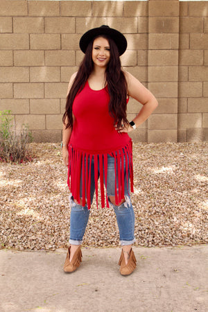 Plus Size All Fringed Out Tank Top in Ruby Red