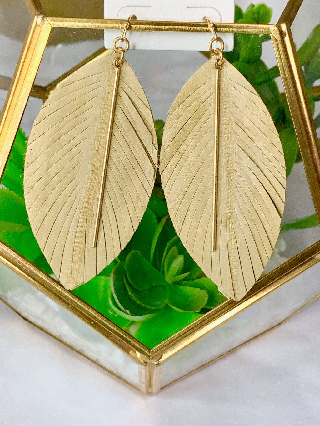 Genuine Leather Feather Earrings