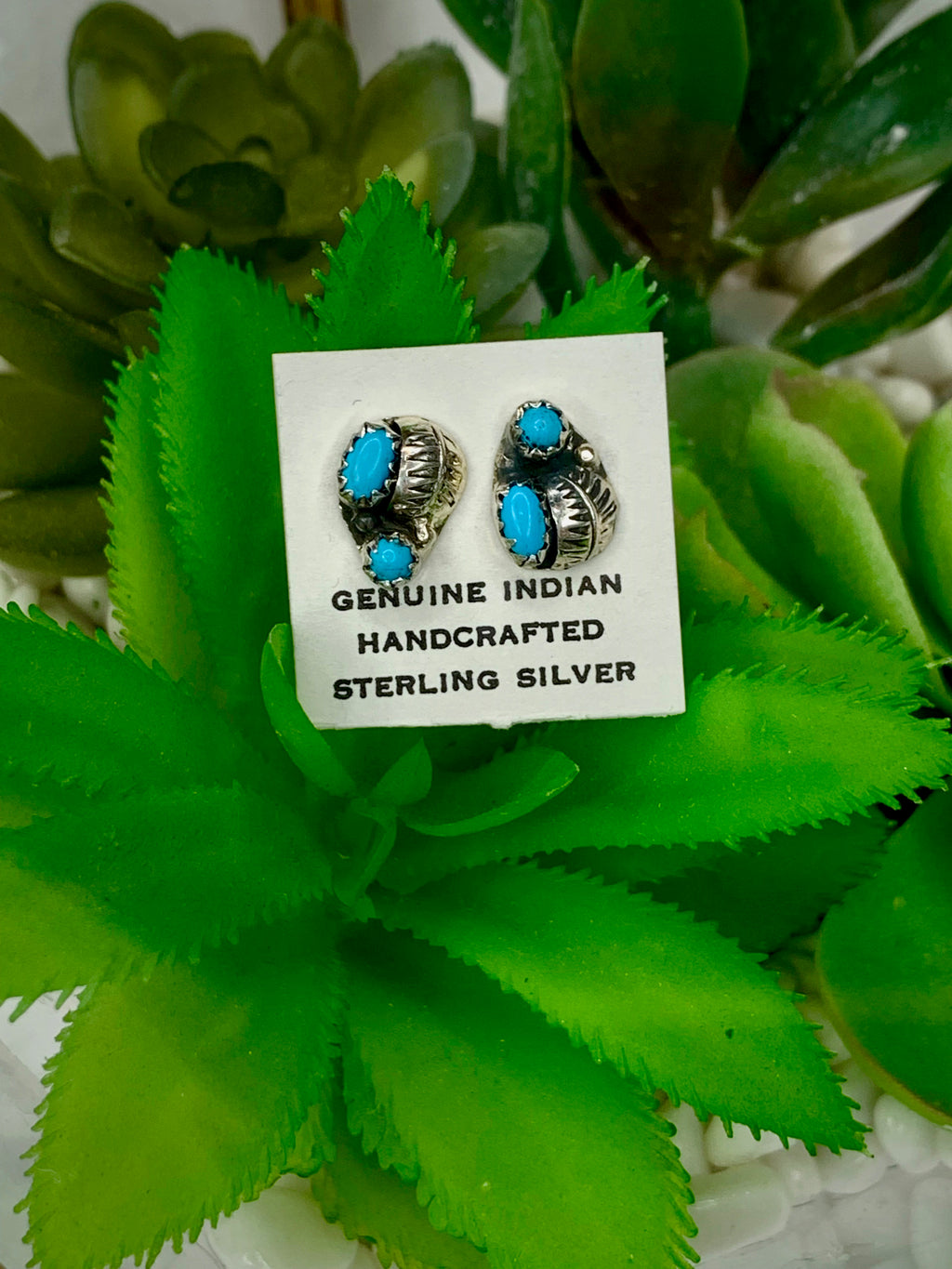 Turquoise Sterling Silver Cluster Studs