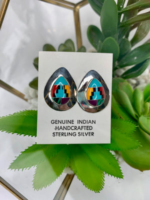 Aztec Turquoise Sterling Silver Tear Drop Studs
