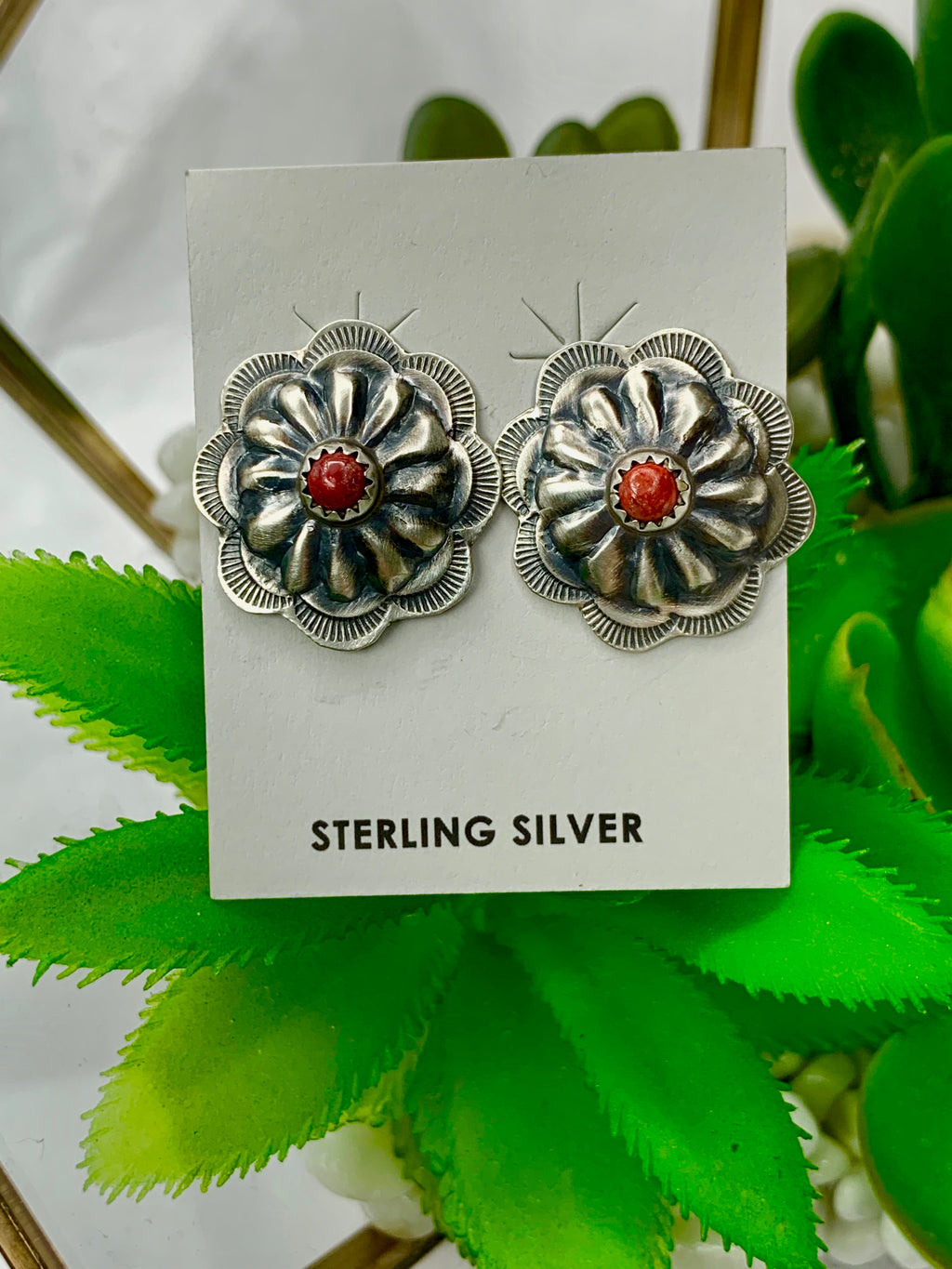 Red Stud Sterling Silver Flower Studs