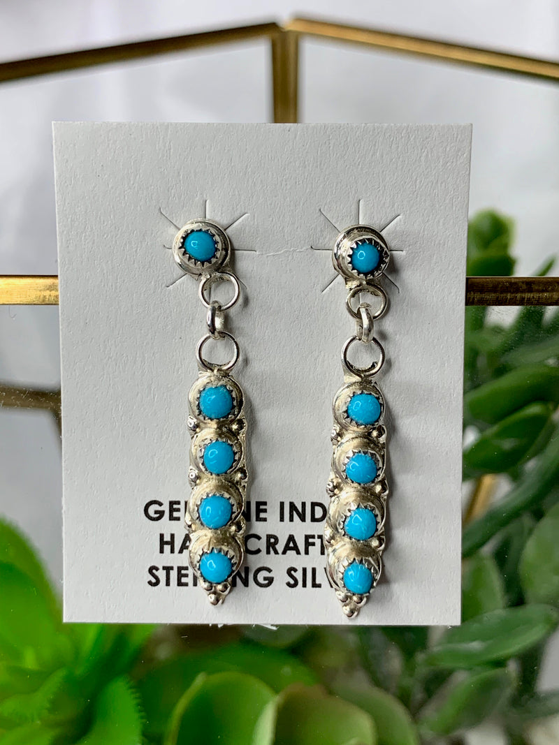 Turquoise Stud Sterling Silver Stud Dangles