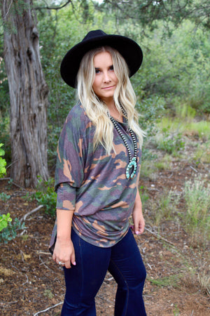 Camo Dolman Tunic Top