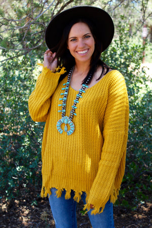 Over Sized Knotted Up Fringe Sweater Top