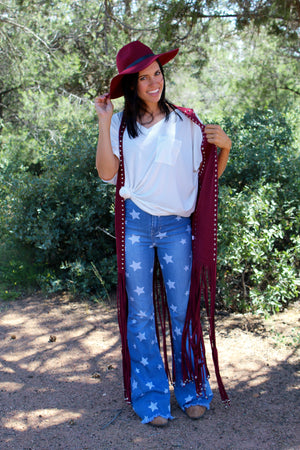 Wyoming Wine Fringe Vest