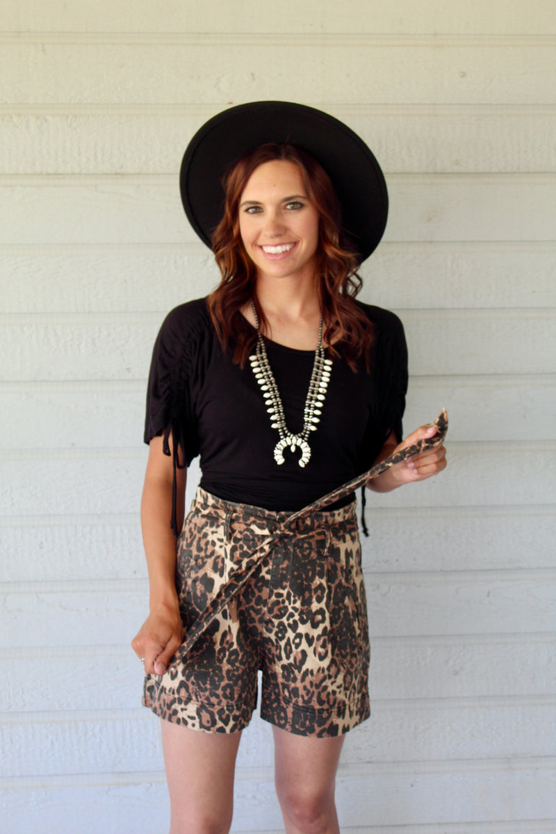 Leopard Tie High Waist Shorts
