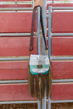 Hide and Turquoise Dreams Wilma Fringe Purse