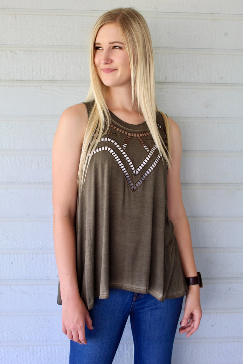 All Caged Up Tank Top in Olive