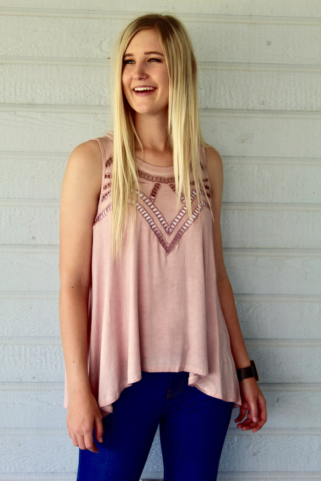 All Caged Up Tank Top in Dusty Pink