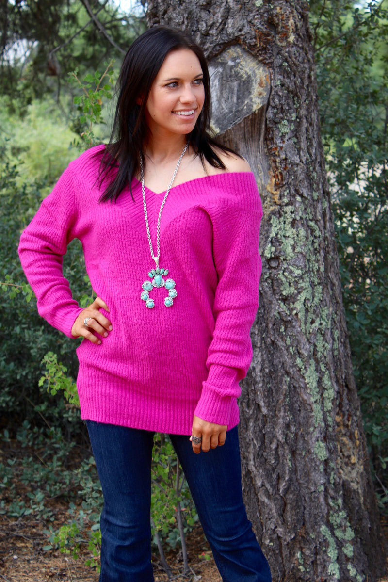 Fuchsia Off The Shoulder Sweater Top