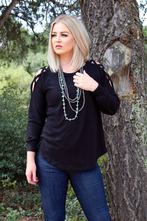 Midnight Criss Crossed Sweater Top