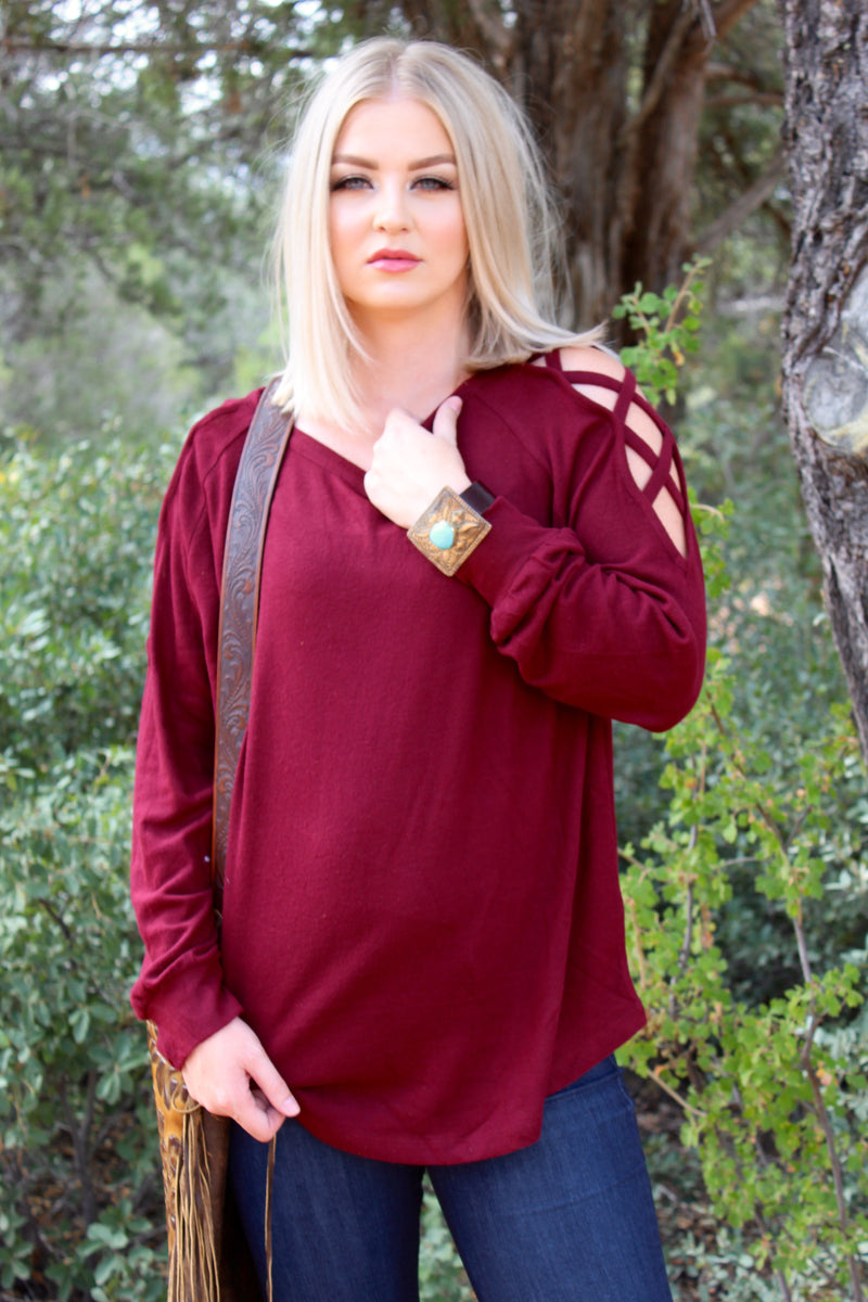 Burgundy Criss Crossed Sweater Top