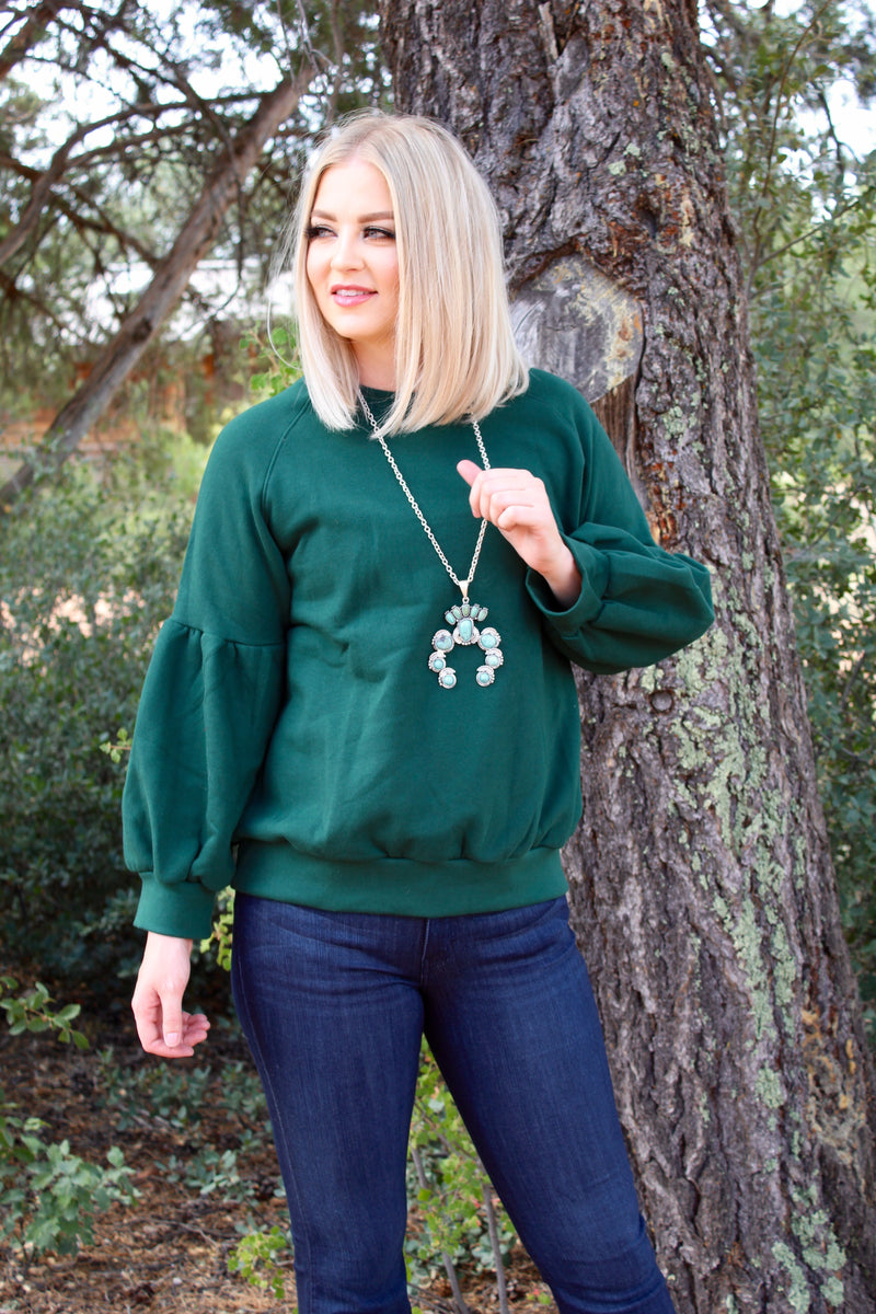 That Hunter Green 70's Sweatshirt Top